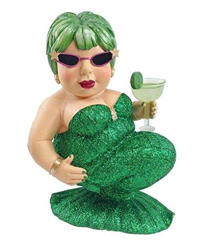 December Diamonds Margarita Green Drinking Mermaid Large Figurine Sculpture 14