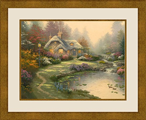 PTM Images 1-37976 Thomas Kinkade, Everetts Cottage, 25.375x21.375 Wall Art Everetts Cottage, Gold, Medium
