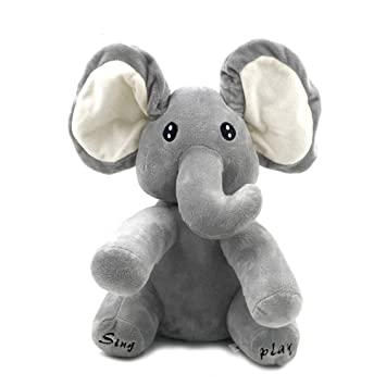 Kids Grey Peek-a-boo Elephant with Music Baby Pal Animated The Elephant Plush