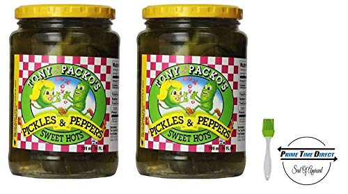 (Tony Packo Sweet Hot Pickles and Peppers, 24 Ounce (Pack of 2) With Silicone Basting Brush in a Prime Time Direct Sealed Bag )