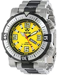 REACTOR Mens 55507 Poseidon 1000 meter Dual Rotating Bezel Yellow and Black Dial Watch