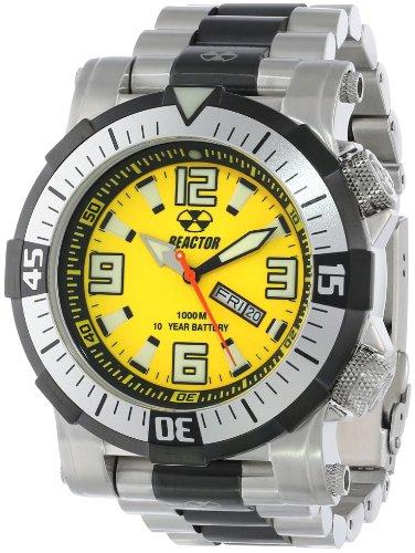 - REACTOR Men's 55507 Poseidon 1000 meter Dual Rotating Bezel Yellow and Black Dial Watch