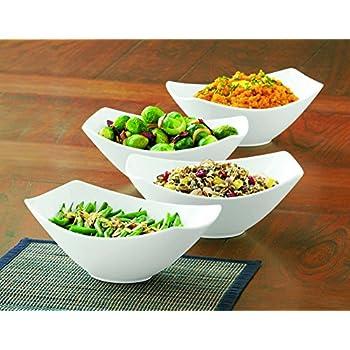 Amazon Com Over And Back 4 Piece Porcelain Serving Bowl