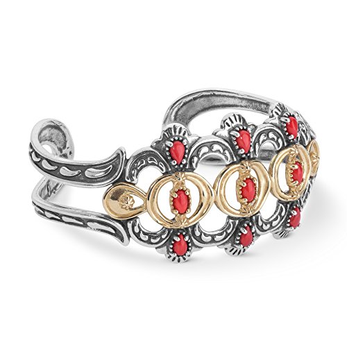Rows Red Coral Bracelet (Luna Mixed Metal & Red Coral Bold Cuff Bracelet)