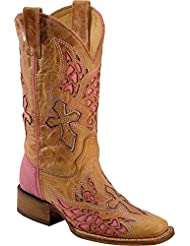 CORRAL Womens Side Wing and Cross Fashion Square Toe Boots