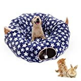 Large Cat Dog Tunnel Bed Big Tube Toys Plush 6 FT Diameter Longer Crinkle Collapsible 3 Way,Gift Small Medium Large Kitten Small Puppy Outdoor Navy Blue