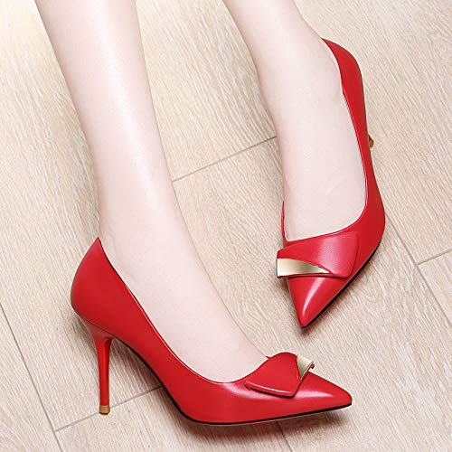 Personality A A Tacchi Modelli Fashion Donna Tacchi Yukun Sottile alti A Punta Shoes Nero Red Da Spillo Single Molla Wild 38 Alti Night On4q6S