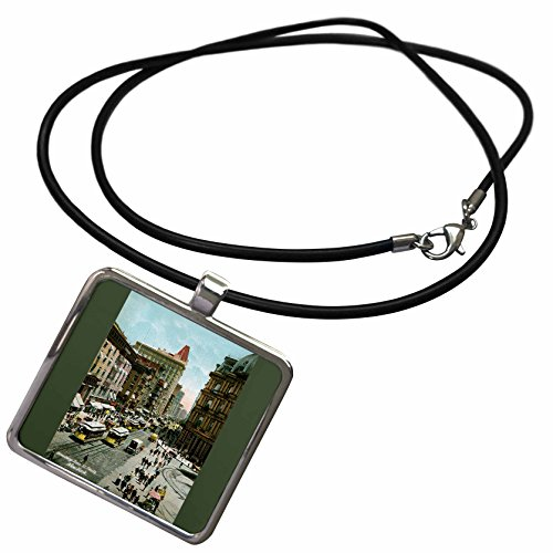 3dRose BLN Vintage New York City Collection - Broadway From St. Pauls New York City Street Scene with Trolley Cars - Necklace With Rectangle Pendant - New Scene York Street