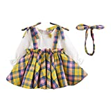 Baby Girl Autumn Grid Dress,Jchen(TM) Newborn Infant Baby Girl Long Sleeve Plaid Princess Dress Headband Clothes Set for 0-24 Months (Age: 12-18 Months, Yellow)