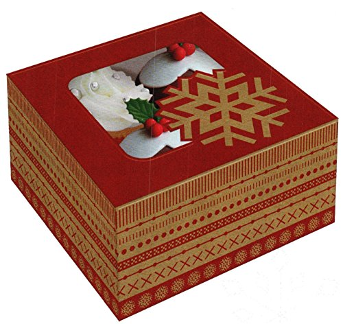 The Cookie Exchange - Windowed Cupcake Box (Kraft Snowflake) (Windowed Box Cupcake)