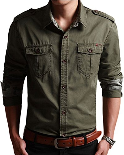 (Chartou Men's Classic Retro Military Camouflage Lined Patchwork Shirt (X-Large, ArmyGreen))