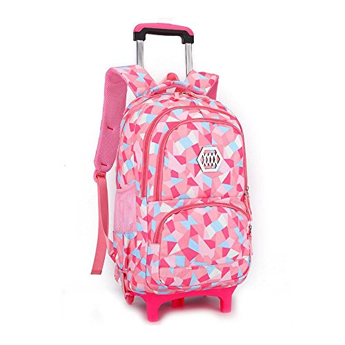 YUB New School Bag Girls' Backpack Wheeled Schoolbag Rolling Backpacks Waterproof Pink with Two - Pink Wheeled Backpacks