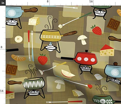 Spoonflower Fun W/Food Fabric - Cheese Chocolate Dining Chef Mushroom Fruit Fondue Cooking Midcentury 1960S Print on Fabric by The Yard - Fleece for Sewing Blankets Loungewear and No-Sew Projects