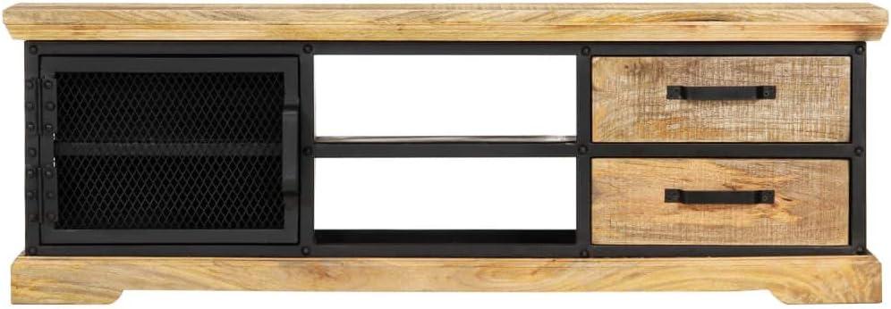 Festnight Mueble para TV de Madera Maciza de Mango Negro 120x30x40 cm, Mueble de TV de Salon Mesa de TV Habitacion con 2 cajones, 1 Puerta y 2 Compartimentos Abiertos: Amazon.es: Hogar