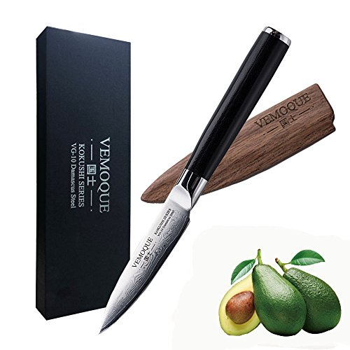 Vemoque Paring Knife - Kokushi Series Paring Knife - 67 Layers VG-10 Damascus Stainless Steel - 3.5'' by Vemoque