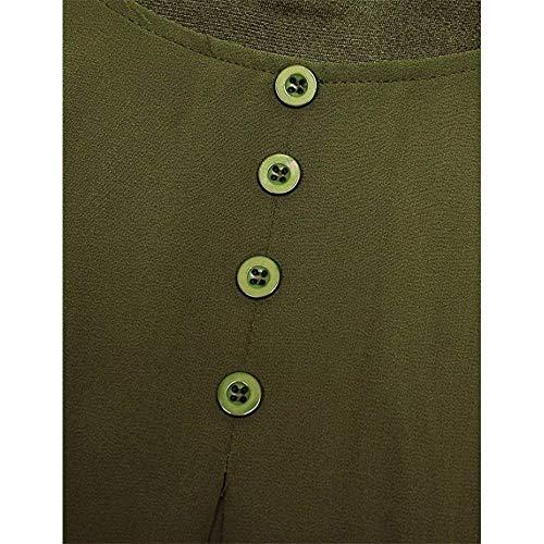 Grazioso Shirt Collo Donna Tops Puro Blusa Colore Giovane Eleganti Moda Gr Tunica Camicetta Manica Sciolto Vintage Corta Chiffon Estivi Casuale Rotondo BZxIAOZq