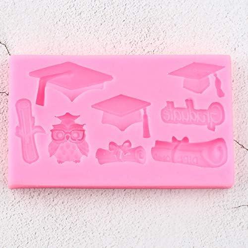 ZPZZPY 3D Dipl/ôm/é Moules en Silicone Chapeau Hibou De D/écoration De G/âteau Fondant Moule DIY Cupcake Cuisson Polym/ère Argile Bonbons Chocolat Gumpaste Moule