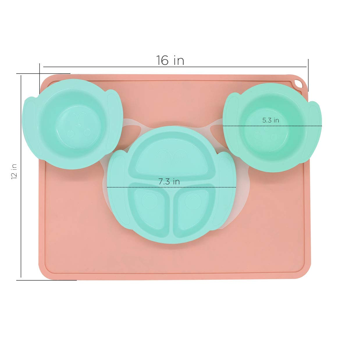 Non-Slip Placemat Plate Design Cartoon Bowl /& Soft Spoon Aids Self Feeding Silicone Bowl and Dishes for Toddler Baby Feeding Set Toddler Dishes