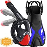 cozia design Snorkel mask with fins (Snorkel Set, Mask L with fins(8.5 to 11.5))