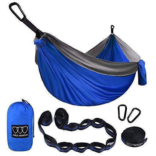 Gold Armour XL Double Parachute Camping Hammock - Tree Portable with Max 1000 lbs Breaking Capacity - Free 16 Loops Tree Strap & Carabiners for Backpacking, Camping, Hiking, Travel, Yard (Blue/Gray)
