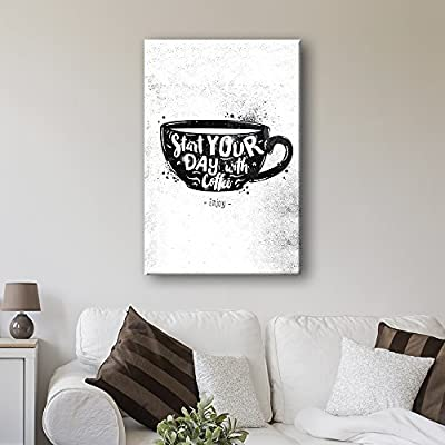 Classic Artwork, Charming Design, Vintage Style Cofee Art Start Your Day with Coffee