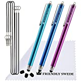 "3pcs Stylus Pen 5.5"" with Replaceable Thin-Tip - Universal Capacitive High Precision Styli + Replacement Tips, Elastic Lanyards + Cleaning Cloth"