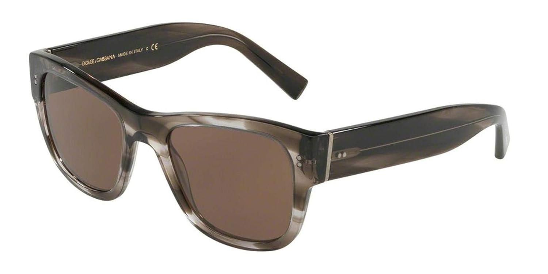 Brown DG4338F-318773-52 Dolce/&Gabbana DG4338F Sunglasses 318773-52 Striped Grey Frame
