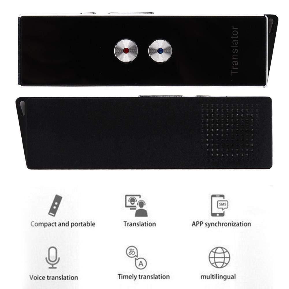 fosa Portable Multi-Language Translator X9 Intelligent Voice Translator, Real Time Speech Interactive Translator Wireless Bluetooth Rechargeable for Learning/Travelling/Business(Black)