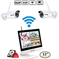 Bechol 960HD Wireless Security Surveillance IP Camera System 4CH WiFi NVR with 12 LCD Monitor,2pcs Waterproof Video Inputs Security Camera 100ft Night Vision+500GB HDD+UL Adapter