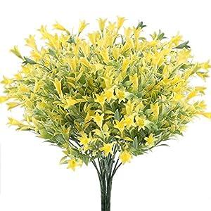 XYXCMOR 4PCS Artificial Lilies Flowers Outdoor Fake Greenery Plants Plastic Faux Floral Bouquet Arrangements Home Office Garden Table Centerpiece Patio Yard Winter Decor Yellow 1