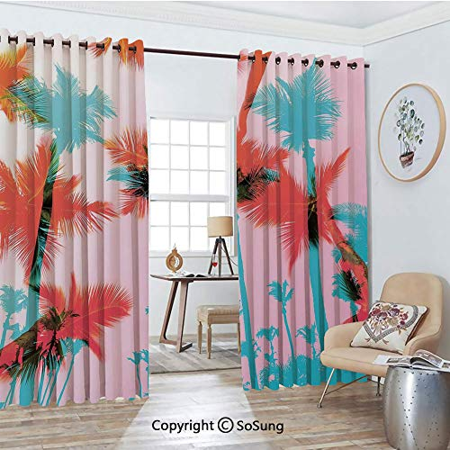 Foil Palm Tree Silhouette - Thermal Insulated Blackout Patio Door Drapery,Coconut Palm Tree Silhouettes Exotic Island Summer Beach Art Room Divider Curtains,2 Panel Set,100