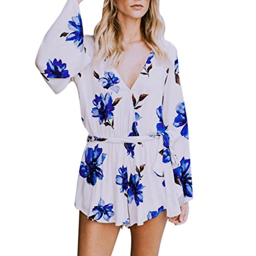 Large Bow Ships Floral (Litetao Short Rompers, Women Floral Crepe Beach Cover Up Playsuit Jumpsuit Bow Tie Clubwear (S, Blue))