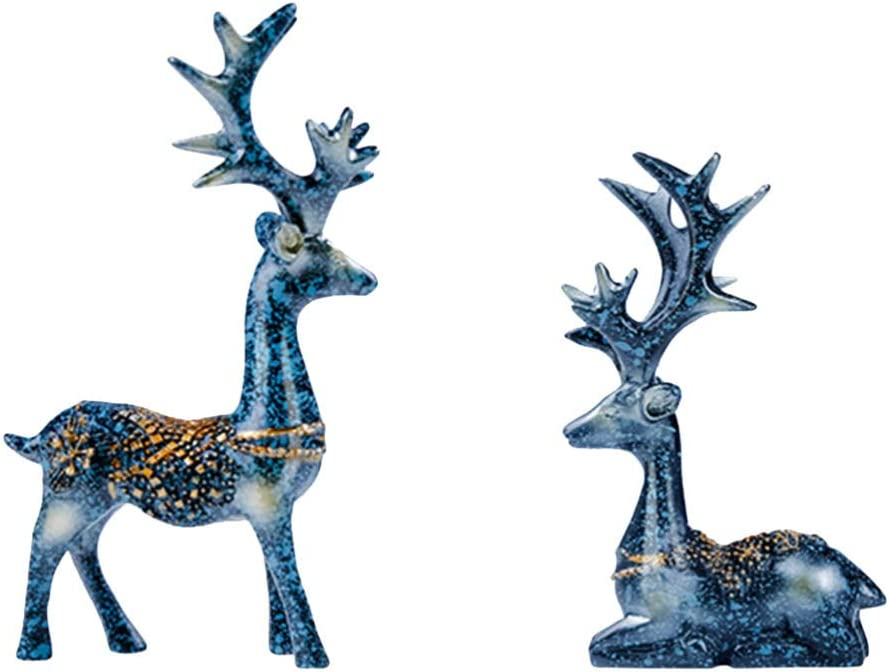 Amosfun 1 Pair of Christmas Reindeer Resin Sculpture Deer Figurine Statue Home Office Decor Statues Family Craft Ornament (Navy)