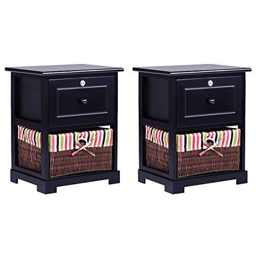 Set of Two Black Nightstand 2 Layers with 1 Lockable Drawer 1 Wicker Basket Studio Chest Wood Bedside End Table 2 Pcs for Bedroom Hallways Bathrooms