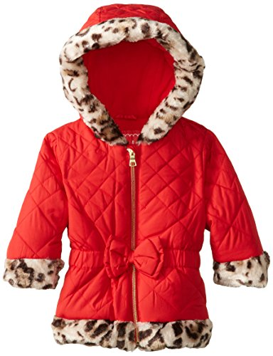 Pistachio Baby Girls' Diamond Quilted Jacket with Faux Fur Trim, Red, 24 Months