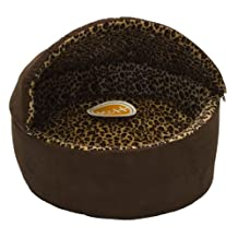 K&H Manufacturing Thermo-Kitty Deluxe Hooded Cat Bed, Large 20-Inch, 4-Watts, Mocha Leopard