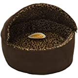 K&H Manufacturing Thermo-Kitty Bed Dlx Hooded Large Mocha Leopard 20-Inch 4 Watts