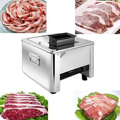 Marada Meat Slicer 10MM 110V Stainless Steel Electric Meat Slicer Machine  Auto Meat Cuber for Fast and Efficient Slicing