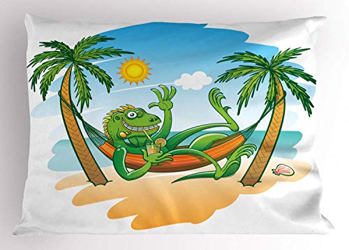 HFYZT Iguana Pillow Sham, Green Iguana Smiling Waving Sunbathing Tropical Holiday Palm Trees with Hammock, Decorative Standard Queen Size Printed Pillowcase, 18 X 18 inches, Multicolor