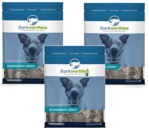 (3 Pack) Barkworthies All Natural Kangaroo Jerky Dog Chews – 4 Ounces Each