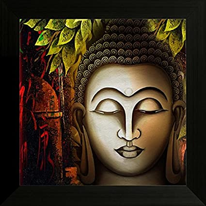 SAF Buddha Religious UV Textured Framed Painting (Synthetic, 34 cm x ...