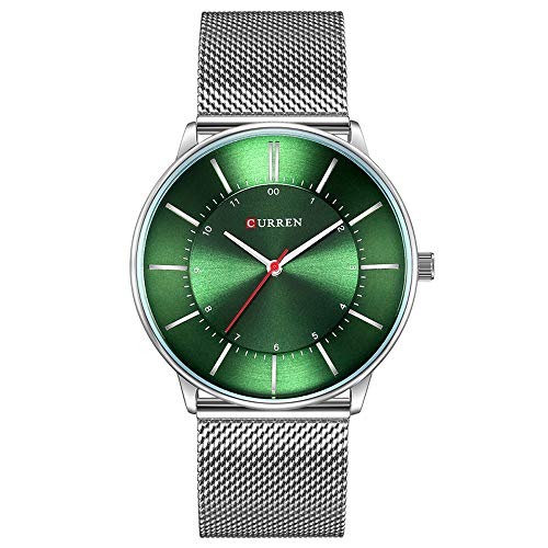 New Fashion Simple Style Business Men Watches Ultra-Thin Quartz Male Wristwatches Waterproof (Silver Green) -