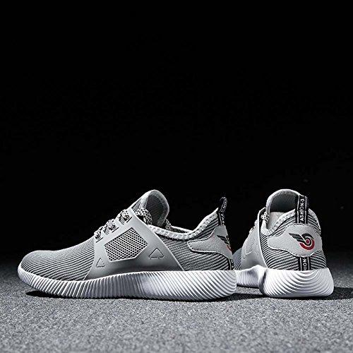 Dannto Herren Laufschuhe Atmungsaktive Outdoor Athletic Lace-Up Lightweight Fashion Sneakers Grau