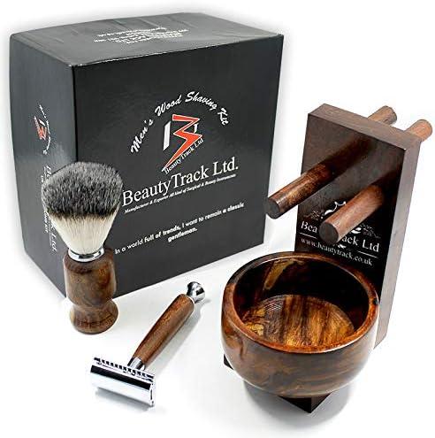 Kit Barba Vintage Regalo Madera Pura Para Hombre - Maquinilla Afeitar Seguridad - Mejor Cepillo Barba tejón ...