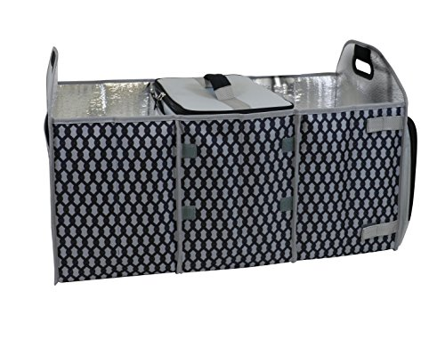 Homz Car Trunk Organizer with Insulated Cooler, Gray Chain Pattern