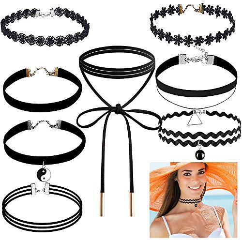 Choker Set, Outee 9 Pcs Black Choker Necklace Velvet Choker Black Henna Tattoo Choker for Girls Womens