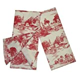 Toile French Country Dish Towel, Set of 2 Red by India Overseas