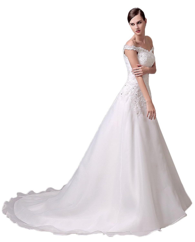 Gorgeous Bride Long Lace Applique Off the Shoulder Wedding Bridal Gown
