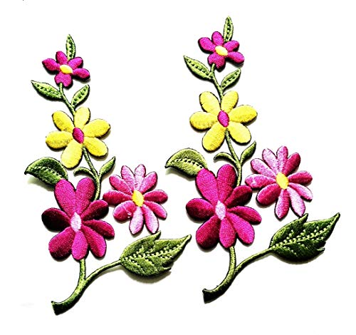 Pink Daisy Flowers Flowers Floral Beautiful Bloom Garden Embroidered Appliques Iron-on Patches for Bags Jackets Jeans Clothes or Gift (Pink Flower) ()