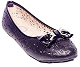 ONE Women Ballerina Flats Shoes, Cutout Fashion Designs, B-2057, Black, 8.5
